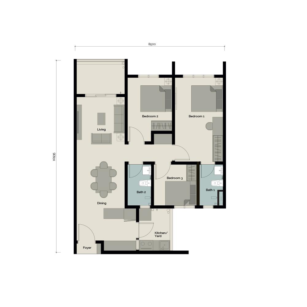 TypeA 3 bedroom & 2 Bathroom 862 sq. ft.