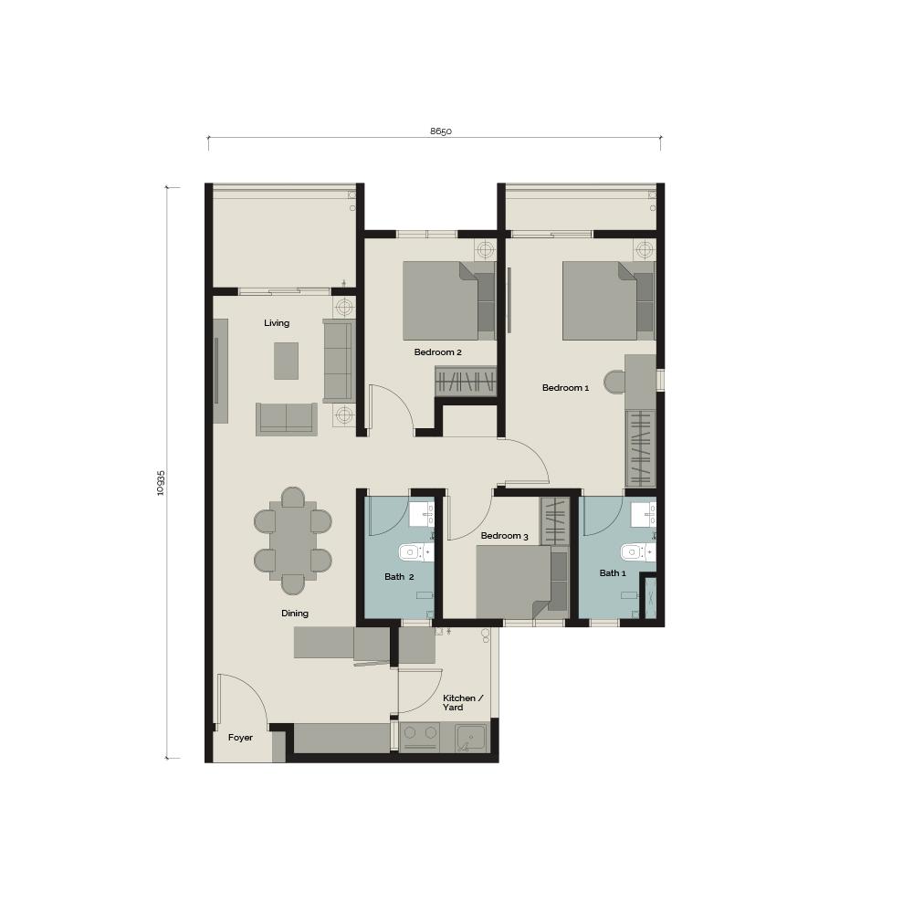 TypeA1 3 bedroom & 2 Bathroom 904 sq. ft.