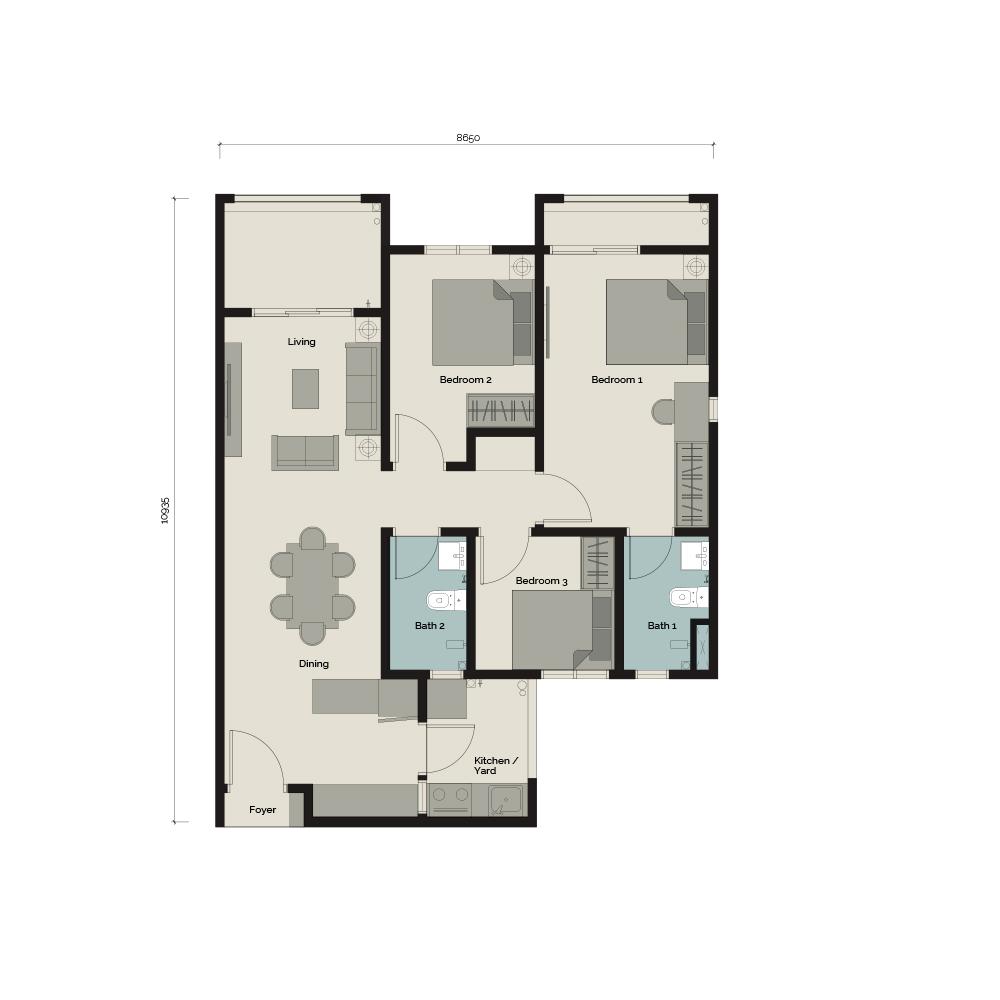 TypeA1/T 3 bedroom & 2 Bathroom 904 sq. ft.