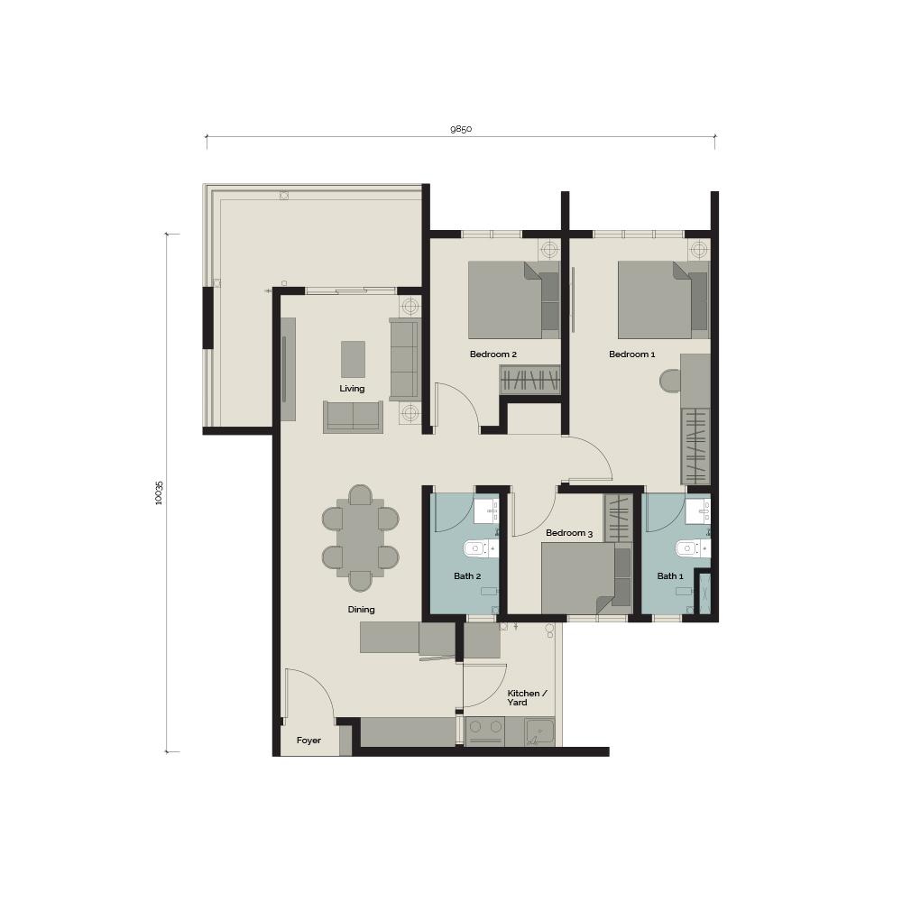 TypeA2 3 bedroom & 2 Bathroom 931 sq. ft.
