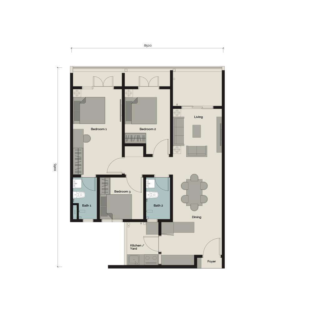 TypeA/G1 3 bedroom & 2 Bathroom 938 sq. ft.