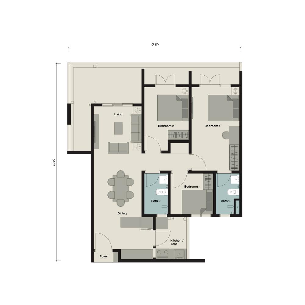 TypeA/G2 3 bedroom & 2 Bathroom 1,025 sq. ft.