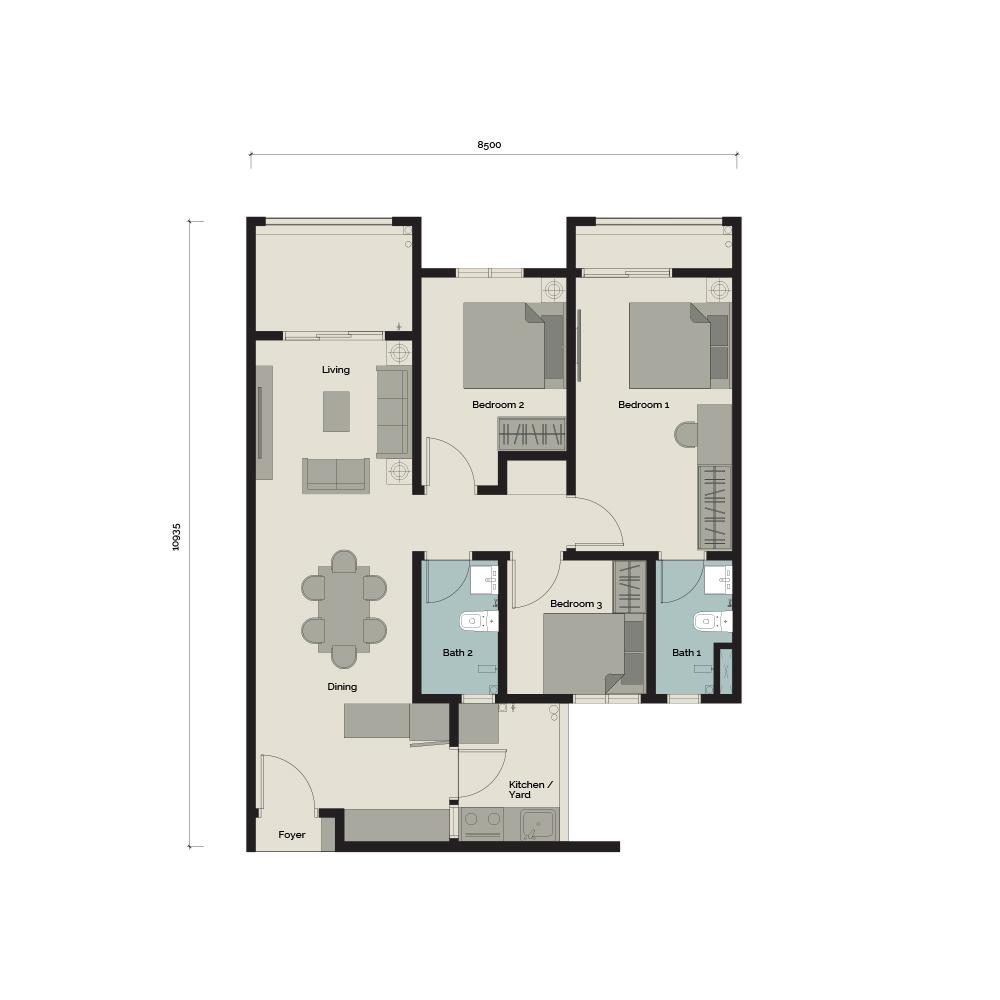 TypeA/T 3 bedroom & 2 Bathroom 890 sq. ft.