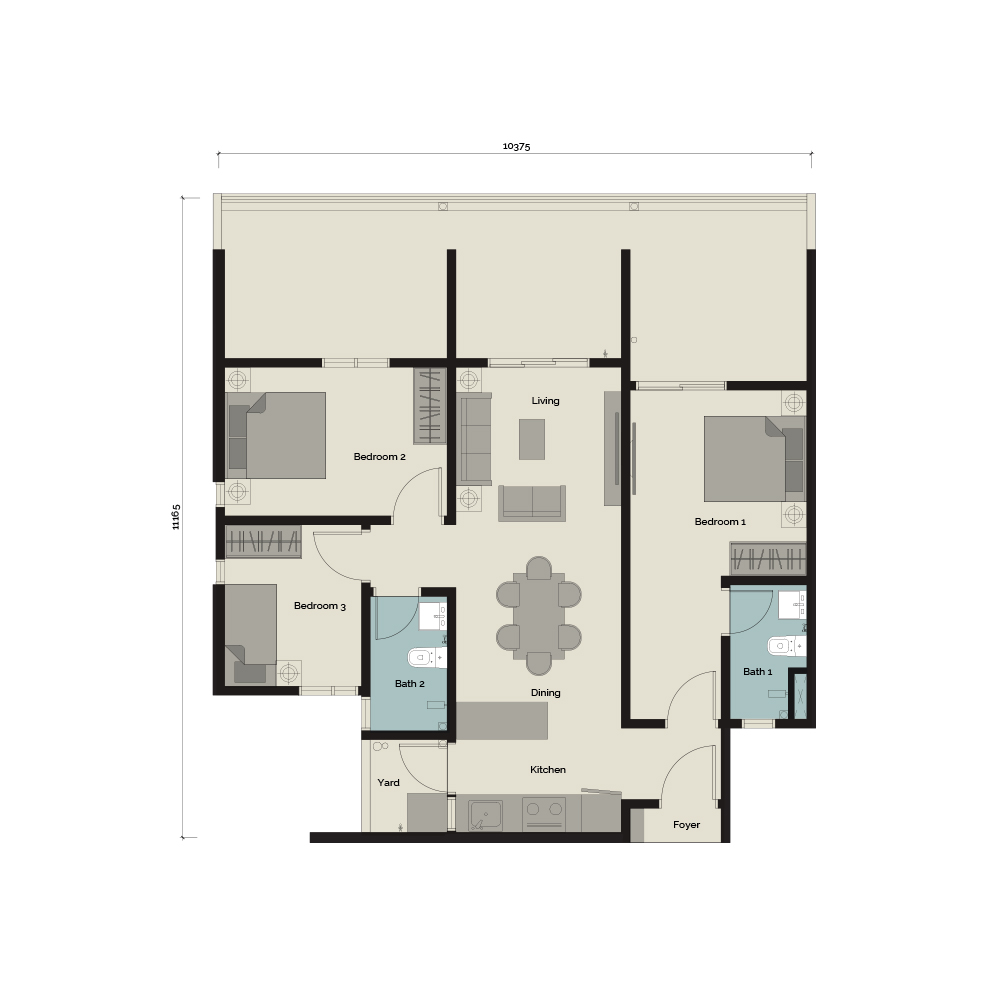 TypeB1/G1 3 bedroom & 2 Bathroom 1,145 sq. ft.