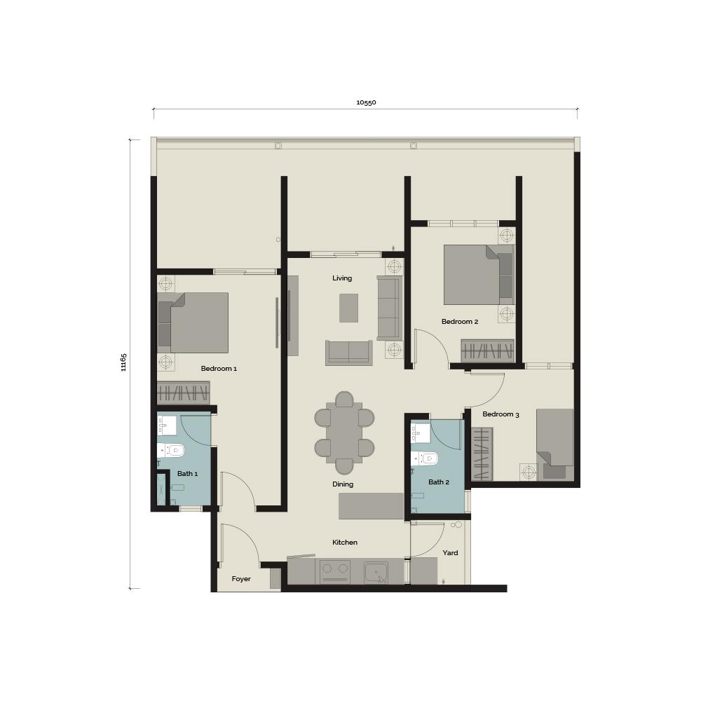 TypeB/G1 3 bedroom & 2 Bathroom 1,160 sq. ft.